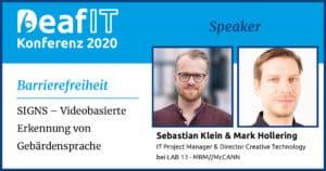 DeafIT2020 Speaker Sebastian Klein und Mark Hollering Barrierefreiheit