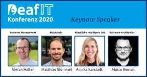 Die Keynote Speaker der 6. DeafIT Konferenz 2020