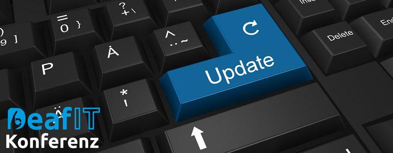 Zwischenstand 6. DeafIT Konferenz, im Hintergrund ist eine Tastatur mit einem Update Button
