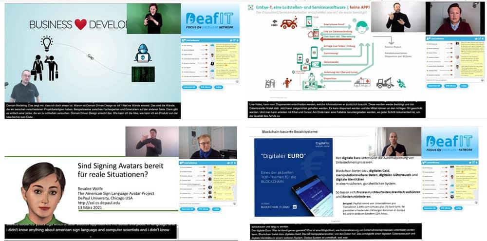 DeafIT Konferenz 2021 Live-Stream mit Gebärdensprache (DGS), Lautsprache, Schriftsprache in Form eines Untertitels in den Sprachen deutsch und englisch. Rechts der Chat für das Networking und Fragen stellen an den Speakern